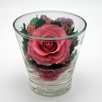 Розовая роза в стакане Студио 98 мм 28-922