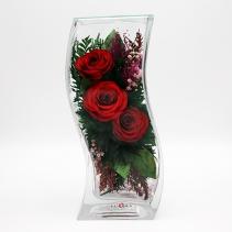 Розы красного тона в изогутой вазе 29-646