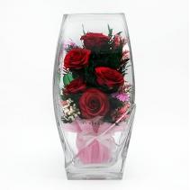 """Красные розы в вазе 32-004 """"квадратный верх"""""""