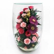 Розы и герберы, большая овальная ваза 33-674