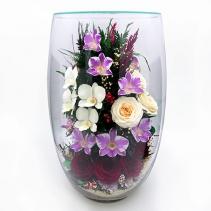 Розы и орхидеи в стеклянной вазе (большая овальная) 33-681