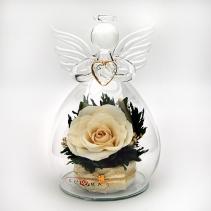 Ангел с белой розой 34-602 13 см