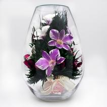 Орхидеи в средней каплевидной вазе 35-210