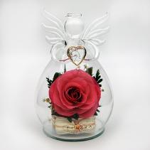 Ангел с ярко-розовой розой 35-845 13 см