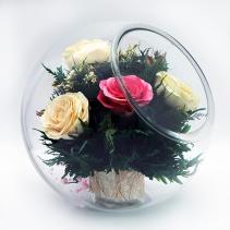 Белая, розовая и красная розы 36-859 (скошенный шар)