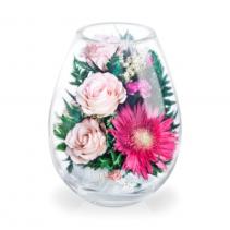 Нежно-розовые розы с малиновой герберой 38-310