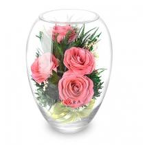 Розовые розы в букете 40-283