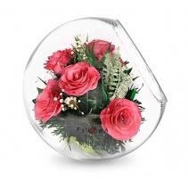 Ярко-розовые розы в большом шаре со скосом 40-382