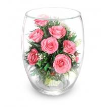 """Розовые розы в вазе """"большой бутон тюльпана"""" 40-443"""