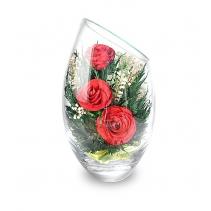 Красные розы в вазе со скосом 40-641