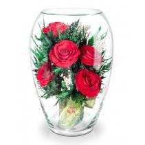 """Красные розы в вазе """"Большой Эллипс"""" 40-696"""