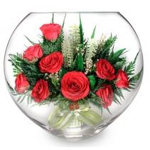 Алые розы в зелени уплощенная ваза 40-719