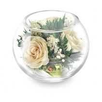 Белые розы в  шаре 40-795