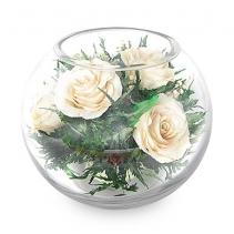 Нежные белые розы в стеклянном шаре 40-832