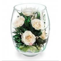 Белые розы в стеклянной вазе (средний бутон тюльпана) 40-955