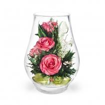 Розовые розы (5 роз и гипсофила) 40-320