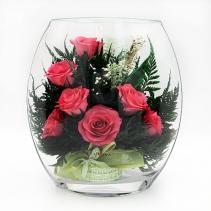Розовые розы в уплощенной вазе 40-399