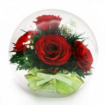 Красные розы в стеклянном шаре 40-559 (средний со скосом)