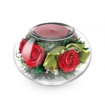 Подсвечник с красными розами 40-634