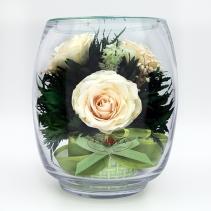 Белые розы в стеклянной вазе (малый бутон тюльпана ) 40-825
