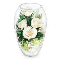 Белые розы в вазе-средний эллипс 40-917