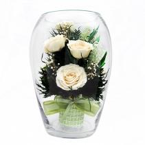Белые розы в стеклянной вазе (большой эллипс ) 40-986