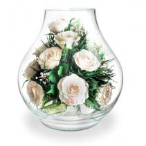 Белоснежные розы в вазе-бутоне 41-013