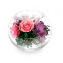 Микс из роз и орхидей в шаре 41-570