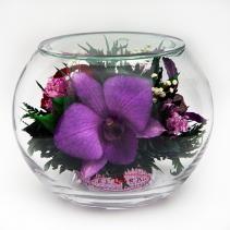 Розы и орхидеи в стеклянном шаре 41-341s