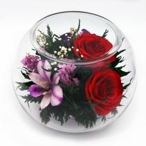 Композиция из роз и орхидей в стеклянном шаре 41-365