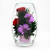 Микс из роз и орхидей в малой овальной вазе 41-389