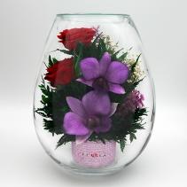 Красные розы и орхидеи в вазе (малая каплевидная) 41-396