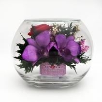 Микс из цветов в стеклянном шаре 15 см 41-419