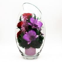 Орхидеи и розы в скошенной вазе h25 см 41-457
