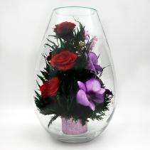 Розы и орхидеи в средней каплевидной вазе 41-501