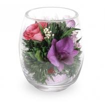 Нежный микс в вазе средний тюльпан 41-563