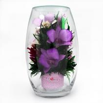 Орхидеи в стеклянной вазе (малая овальная )42-669