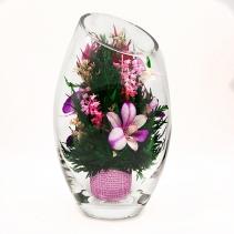 Орхидеи в вазе со скошенным верхом H25 см 42-744