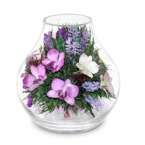 Разносортные орхидеи в вазе - большом бутоне розы 44-786