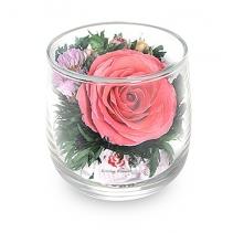 Розовая роза в стакане 46-568