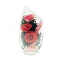 Розовые розы овальной вазе со скосом 48-494