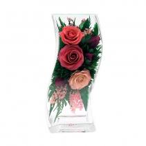 Ярко-розовые и светло-розовые розы в волнистой вазе 48-524