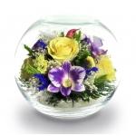 Цветы в стекле с птичкой, BNM6