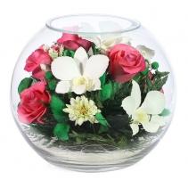 Микс из розовых роз и белых орхидей BNMp