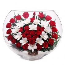 Розы с сердцем из орхидей EJM-03