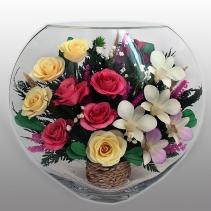 розы и  орхидеи в крупной вазе ELM-12