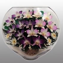 композиция из орхидей в крупной вазе ELO-06