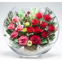 Микс из розовых и красных роз ELRp-02