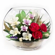 орхидеи и алые розы в одном букете EMM-04