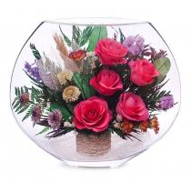 Розовые розы с хризантемками EMRp-03